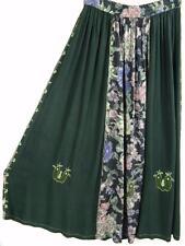 SK283~TIENDA HO~Dk Green & Floral~RAYON CIRCLE SKIRT~Indian~Embroidery~OS~M-1X?
