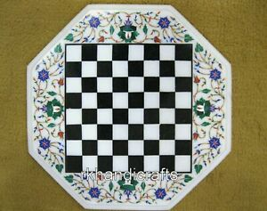 12 Inches Marble Game Table Top Inlay Coffee Table with Flower Design at Border