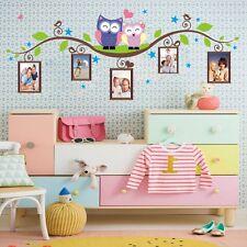 Owls on Branch Photo Frame Wall Decals Sticker Vinyl Mural Kids Baby Room Decor