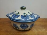 "Louisville Stoneware Bachelor Button 2 Qt 9.5"" Covered Casserole Dish With Lid"