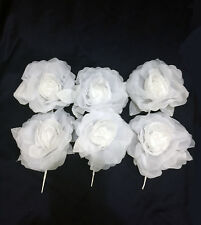 6 Flower .White Bridal Organza Big Rose Flowers and Safety Pin.6 flower per bag
