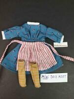 American Girl MINI 6 inch Kirsten Meet Outfit~Dress~Socks~Apron~PC tag~Retired