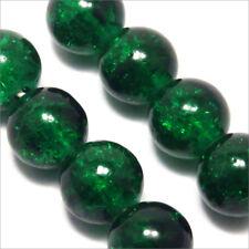 Lot de 30 Perles Craquelées en Verre 8mm Vert foncé
