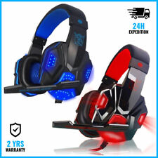 EASTVISTA PC780 GAMING HEADSET HEADPHONES OVER EAR ECOUTEUR BLUE/RED +MICROPHONE