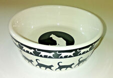 New listing Cat Walk Bowl Dish Stoneware Ceramic 5 inch Signature Black White