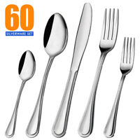 10/20/40/60 Pcs Flatware Cutlery Set Stainless Steel Silverware Kitchen Service