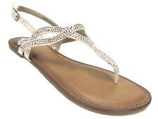 Fergalicious Women's Sylvia T-Strap Flat Sandals Nude Beige Size 6 M