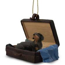Dachshund Black Tan Traveling Companion Dog Figurine In Suit Case Ornament
