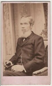 Man Chin Beard Geneseo Il Antique CDV Photo by WL Kirkpatrick Photographer