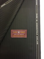 BOWER ROEBUCK Black Striped Super 100's Wool & Cashmere Suit Fabric (320g)