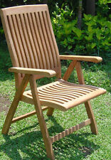 Marley A-Grade Teak Wood Dining Reclining Folding Arm Chair Outdoor Furniture NW