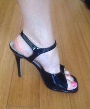 Hollywood Heels - Black Patent Ankle Strap Sandal - NIB Size 12