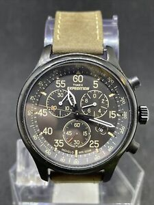 "Timex T49905, Men's ""Expedition"" Leather Indiglo Watch, Chronograph, Date #19"