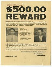 Wanted Notice - Raymond Henry Bullock - West Palm Beach, FL, 1934 - $500 Reward