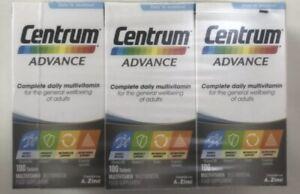 3 x Centrum Advance Multivitamin Tablets - Pack of 100