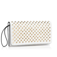 100% AUTHENTIC NEW CHRISTIAN LOUBOUTIN MACARON SPIKE WHITE CLUTCH BAG/WALLET