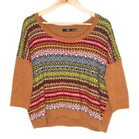 Sportsgirl Womens Multicoloured 3/4 Sleeve Knit Jumper Sweater Size S/M