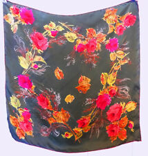 Vintage Olive Green Silk Scarf Rolled Hems Red Roses