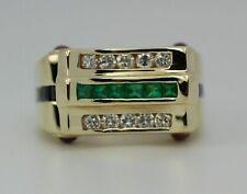 1.96 Ct Princess Cut Emerald & Sapphire Wedding Band Ring 14k Yellow Gold Over
