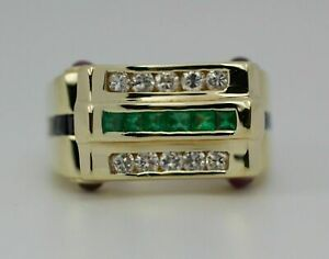1.96 Ct Princess Cut Emerald & Sapphire Wedding Band Ring 14k Yellow Gold Over