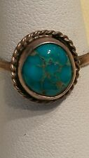 Vintage 'REAL' Turquoise, Unmarked Sterling Silver Size 6.5 RING