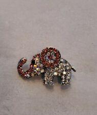 Pin Adult / Kid New Organza Bag Pink / Clear Rhinestone Silver Elephant Brooch /