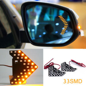 2Pcs Yellow 33-SMD Sequential LED Arrows for Car Side Mirror Turn Signal Lights