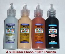 GLASS DECO 4 x 22ml Colours 3D PAINT OUT LINER decorating ART CRAFT NEW SEALED 4