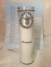Archangel 7 Day Glass Prayer Candle With Angel And Angelite Charm Silver Tone
