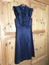 Ladies Monsoon Silk Dress Size 8 Dark Blue Excellent Condition Never Worn Formal