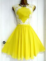 TED BAKER size 4 14 16 bright yellow lace floral fit flare summer holiday dress