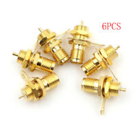 6pcs RF adapter connector SMA Female Panel Mount with nut bulkhead handle Solder