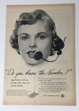 Original Print Ad 1952 BELL TELEPHONE SYSTEM Do You Know the Number Operators