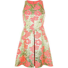 BNWT River Island Gold Pink Floral Jacquard Skater Evening Occasion Dress 14 NEW