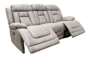 Kelly 3 Seater Electric Recliner Grey Fabric Sofa