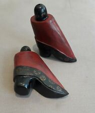 Chinese Antique Bound Feet Shoes Herb Container Wood