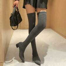 Womens Over the Knee Sock Boots Block Mid Heel Sexy Clubwear Pointed Toe Shoes
