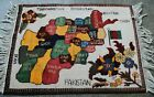 Afghan classic hand made Afghan Map multi color Map 100% wool