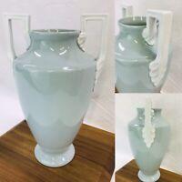 Vtg Neoclassical Art Deco Porcelain Pottery Vase Urn Greek Blue Green 12'' HAVE2