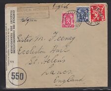 BELGIUM 1945 WWII POST WAR CENSORED COVER BRUSSELS TO ST HELEN'S ENGLAND