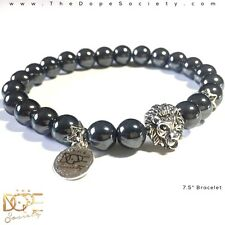 Grey Hematite Bead Bracelet, Hematite Energy Bracelet, Beaded Lion Head Bracelet