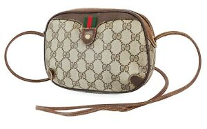 Authentic Vintage GUCCI Brown GG Canvas and Leather Shoulder Bag Purse #39387