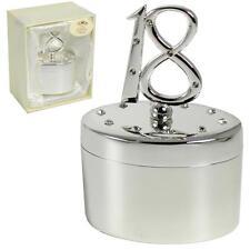 Argento & Diamante Ovale Ciondolo Box con numero Top - 18th Compleanno