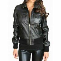 NOORA 100/% New Women/'s Vintage Genuine Real Lambskin Leather Black Slim Fit Biker Motorcycle Stylish Jacket with Zipper collar  NM011