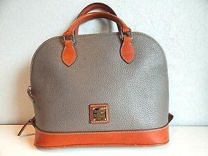 Dooney & Bourke Grey/Saddle Pebbled Leather Medium Hobo Purse Handbag w/wallet