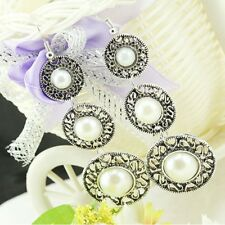 Retro Ethnic Style 3 Circle Simulated Pearl Long Tassel Dangle Hook Earrings
