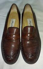 Mezlan dress shoes loafers sz 7 light brown woven leather Excellent !