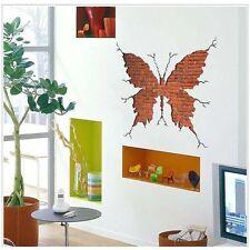 3D Butterfly Broken Wall Mural Removable Decals Vinyl Sticker Home Windows Decor