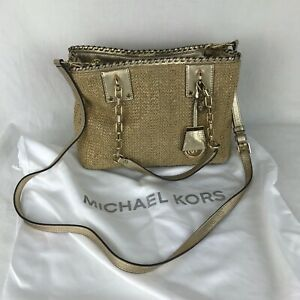 Michael Kors ROSALIE Gold Metallic and Straw Raffia Tote Handbag