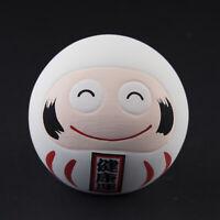 Statuetta Daruma Smiley Bianco Portafortuna Giappone Ceramica Fatto a Mano 40665